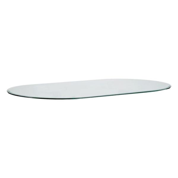 Buy Racetrack Oval Table Top Clear Glass Beveled edge - 12mm thickness