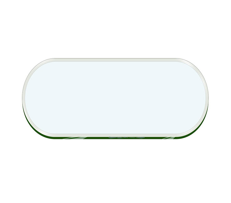 Buy Racetrack oval table top clear glass 10mm thickness Tempered - Beveled polished edges