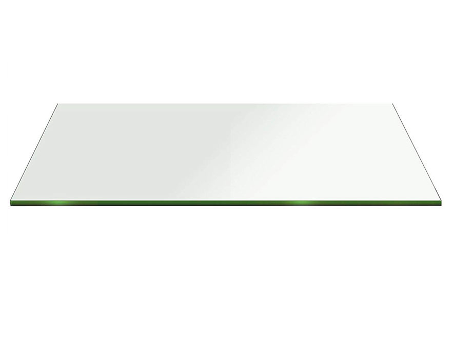 Buy 6 mm Rectangle Table Top Clear Tempered glass - Flat polished edges