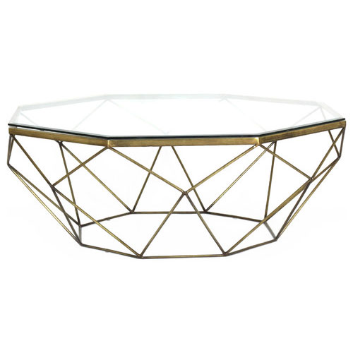 Buy Geometric Coffee Table / Teapoy with octagon shaped glass table top