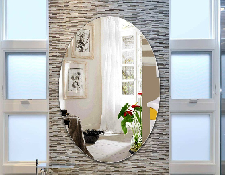 Buy Oval Frameless Mirror for Bathroom 18 x 24 inches