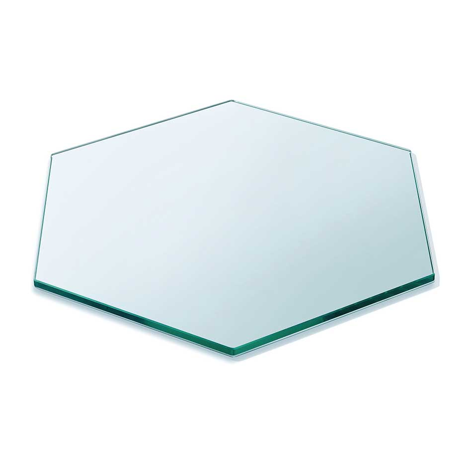 Buy Hexagon Clear Table top Tempered (toughened) glass 12mm thickness