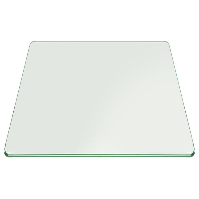 Buy 12 mm Table Top Square Clear Glass with Pencil Polished Edges