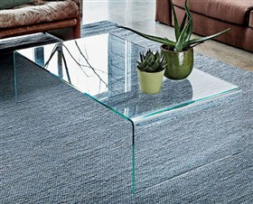 Buy Vogue Curved Bent Glass Coffee Table (Clear Glass) L 120cm