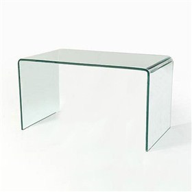 Buy Vogue Curved Bent Glass Desk - 19 mm thick clear glass 198x76x76
