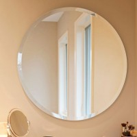 Buy Frameless Round Beveled Edge Wall Mirror 05 mm thickness for bathrooms, make up mirror